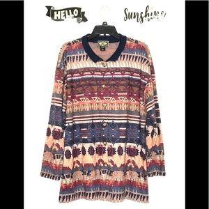 Express Southwestern Print Cardigan Sweater